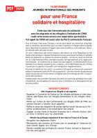 18 décembre / Journée internationale des migrants: pour une France solidaire et hospitalière