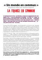 «Un monde en commun»: Propositions spécifiques complémentaires au programme La France en commun