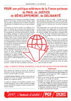 Pour une politique extérieure de la France porteuse de paix, de justice, de développement, de solidarité
