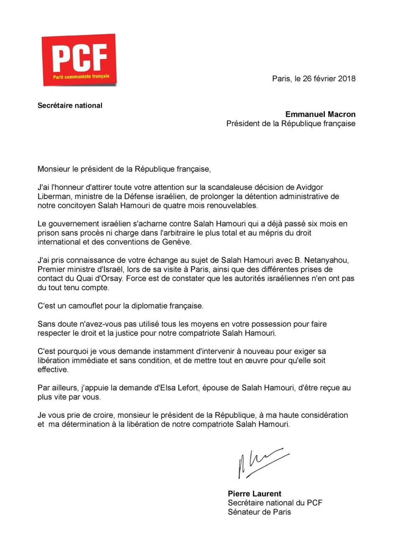 Courrier de Pierre Laurent, secrétaire national du PCF, à destination du président de la République, Emmanuel Macron, pour exiger la libération immédiate et sans condition de Salah Hamouri