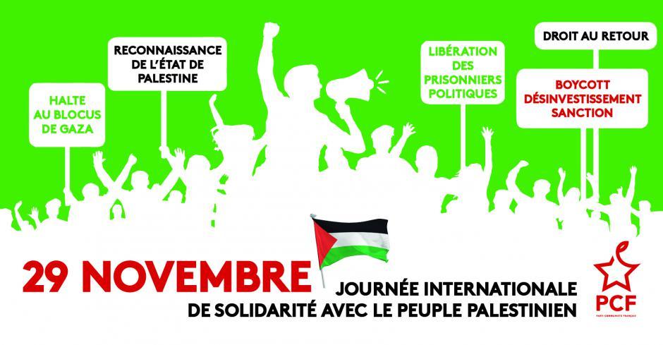 29 novembre: Journée internationale de solidarité avec le peuple palestinien