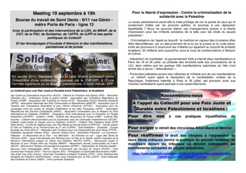 Pour la liberté d'expression - Contre la criminalisation de la solidarité avec la Palestine
