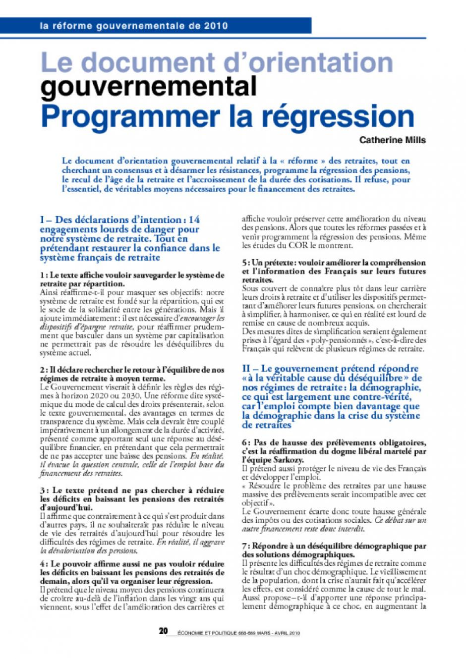 Le document d orientation gouvernemental sur les retraites  Programmer la  régression 94613cec1f5a