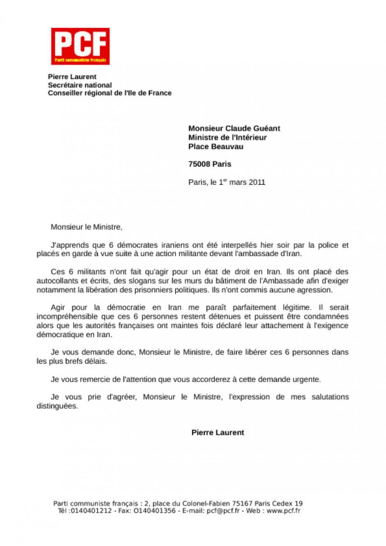 Iran Lettre De Pierre Laurent Au Ministre De L Interieur Cl