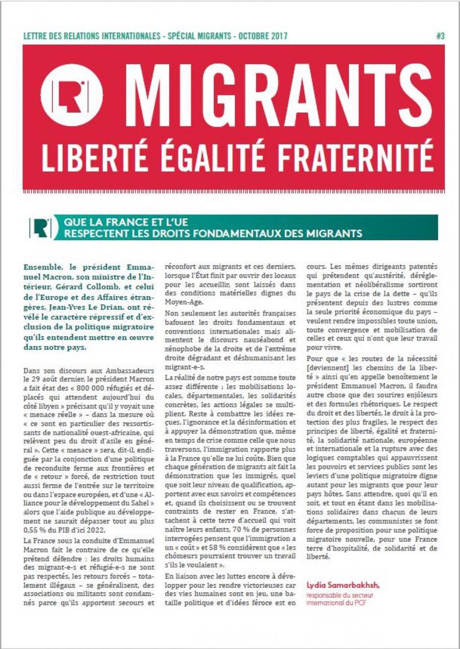 Que la France et l'UE respectent les droits fondamentaux des migrants