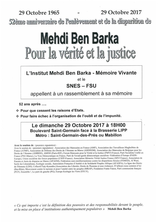 52e anniversaire de l'enlèvement et de la disparition de Mehdi Ben Barka - Pour la vérité et la justice
