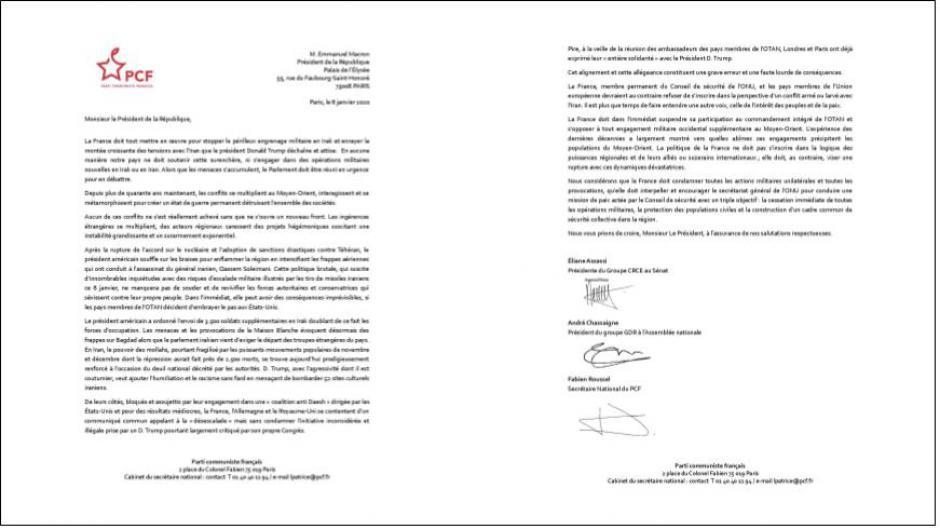 نامه دبیر کل حزب کمونیست فرانسه،رئیس گروه نمایندگان این حزب در پارلمان و رئیس گروه سناتورهای این حزب به آقای اِمانوئل مکرون،رئیس جمهوری فرانسه